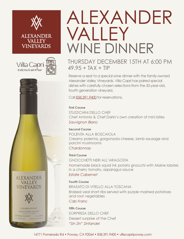 villa-capri-poway-alexander-valley-wine-dinner
