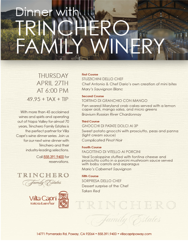 villa capri poway april wine dinner